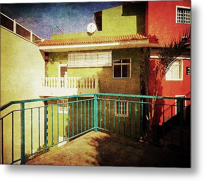 Metal Print featuring the photograph Green Street Corner, Alcala by Anne Kotan