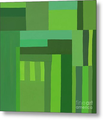 Metal Print featuring the digital art Green Stripes 3 by Elena Nosyreva