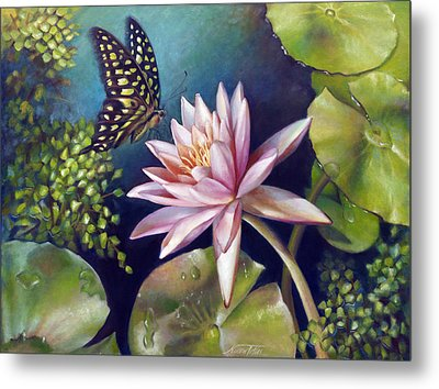 Green Tailed Jay Butterfly And Water Lily Metal Print by Nancy Tilles