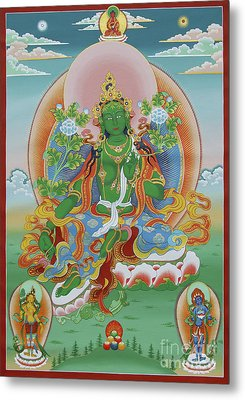 Green Tara With Retinue Metal Print