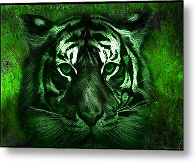 Green Tiger Metal Print by Michael Cleere