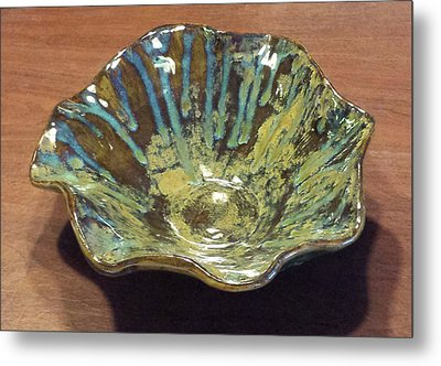 Green Turquoise Blue And Golden Brown Ceramic Bowl Metal Print by Suzanne Gaff