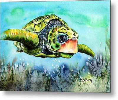 Green Turtle Metal Print by Maria Barry