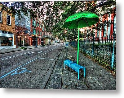 Green Umbrella Bus Stop Metal Print by Michael Thomas