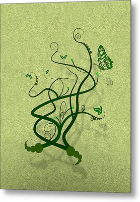 Green Vine And Butterfly Metal Print