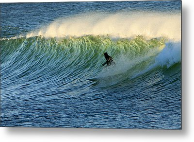 Green Wall Surfer Metal Print by Mike Coverdale