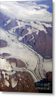 Metal Print featuring the photograph Greenland From 35 Thousand Feet by Stan and Anne Foster