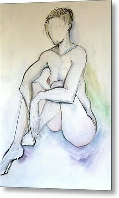 Metal Print featuring the pastel Gretchen - Female Nude Drawing by Carolyn Weltman