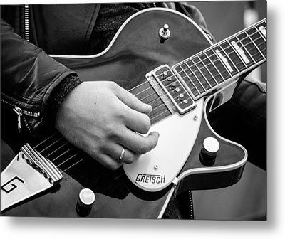 Gretsch Guitar During A Concert Metal Print