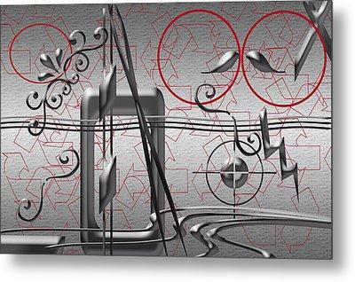 Grey And Red Circles Metal Print
