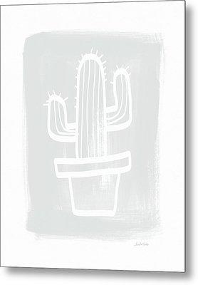 Grey And White Cactus- Art By Linda Woods Metal Print by Linda Woods