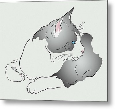 Grey And White Cat In Profile Graphic Metal Print