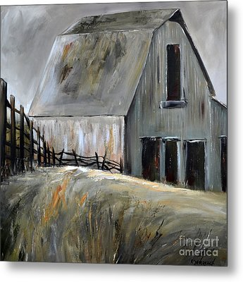 Grey Barn Metal Print