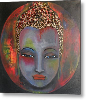 Grey Buddha In A Circular Background Metal Print by Prerna Poojara