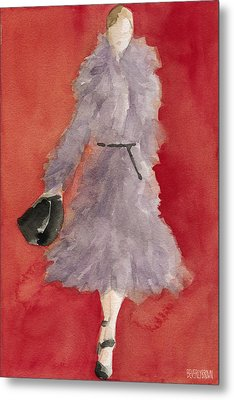Grey Coat - Watercolor Fashion Illustration Metal Print