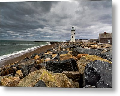 Grey Day At Scituate Lighthouse Metal Print by Brian MacLean