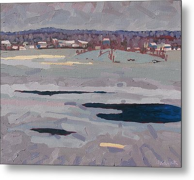 Grey Day River Metal Print by Phil Chadwick
