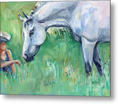 Grey Horse And Cowgirl Metal Print