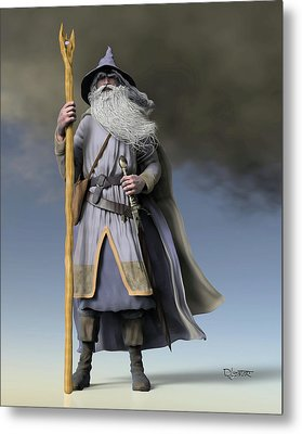 Grey Wizard Metal Print