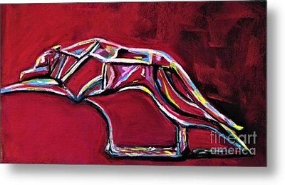 Metal Print featuring the painting Greyhound Glass Figurine  by Frances Marino