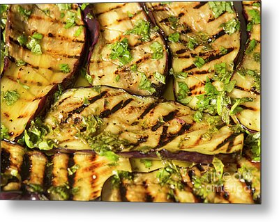 Grilled Eggplant With Dressing Metal Print by Patricia Hofmeester