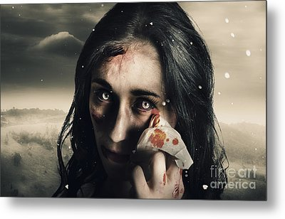 Grim Face Of Horror Crying Tears Of Blood Metal Print by Jorgo Photography - Wall Art Gallery