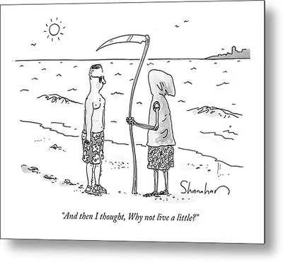 Grim Reaper Wearing A Swimsuit At The Beach. Metal Print