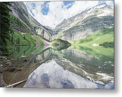 Grinnell Lake Mirrored Metal Print