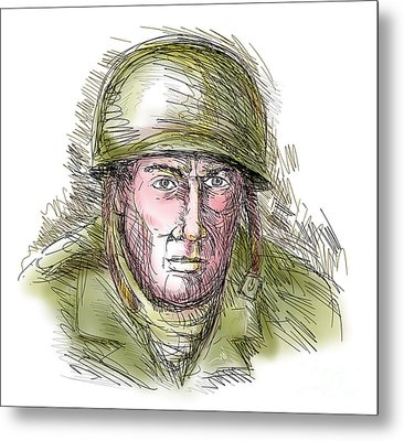 Gritty World War Two Soldier Metal Print by Aloysius Patrimonio