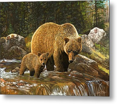 Grizzly Bear And Cub Metal Print by Robert May