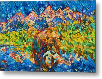 Metal Print featuring the painting Grizzly Catch In The Tetons by Dan Sproul