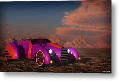 Grobo Car In A Desert Setting Metal Print by Ken Morris