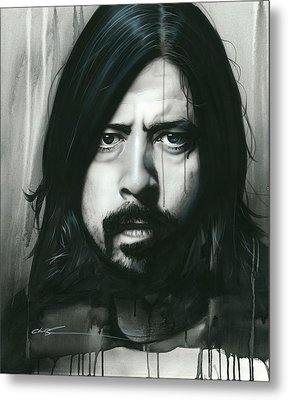 Dave Grohl - ' Grohl In Black ' Metal Print by Christian Chapman Art