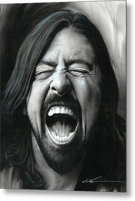 Dave Grohl - ' Grohl In Black IIi ' Metal Print by Christian Chapman Art