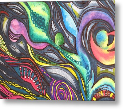 Metal Print featuring the painting Groovy Series Titled My Hippy Days  by Chrisann Ellis