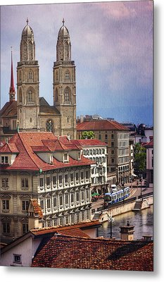 Grossmunster In Zurich Metal Print