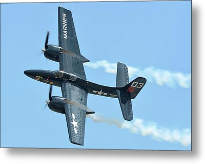 Metal Print featuring the photograph Grumman F7f-3p Tigercat Nx700f Here Kitty Kitty Chino California April 30 2016 by Brian Lockett