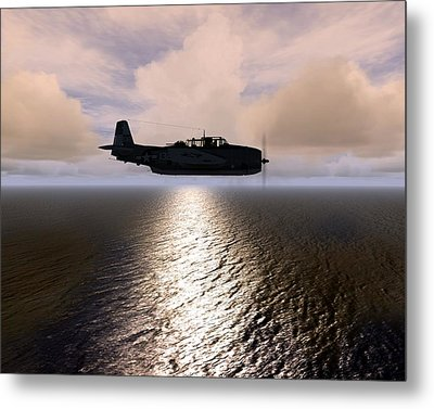 Metal Print featuring the digital art Grumman Tbf 01 by Mike Ray