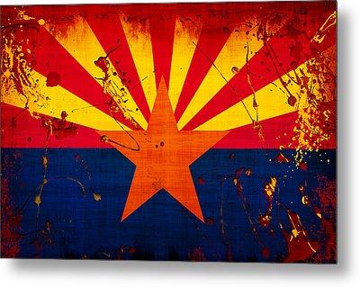 Grunge And Splatter Arizona Flag Metal Print by David G Paul