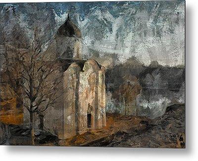 Grunge Church On River Metal Print by Yury Malkov