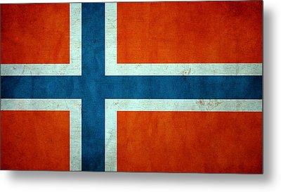 Grunge Norway Flag Metal Print by Dan Sproul