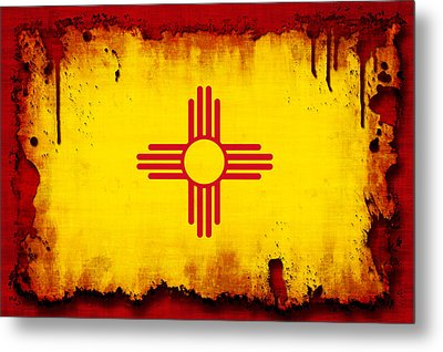 Grunge Style New Mexico Flag Metal Print by David G Paul