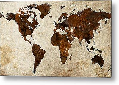 Grunge World Map Metal Print by Gary Grayson