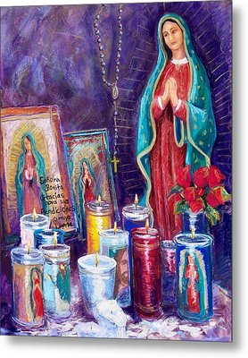 Guadalupe Y Las Velas Candles Metal Print by Candy Mayer
