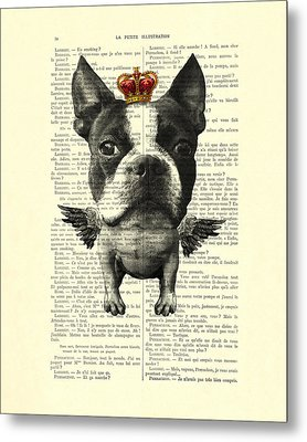 Boston Terrier With Wings And Red Crown Vintage Illustration Collage Metal Print