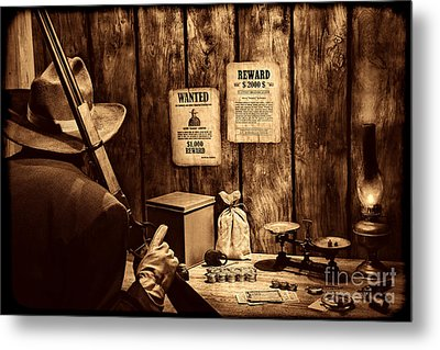 Guarding The Payroll Metal Print by American West Legend By Olivier Le Queinec