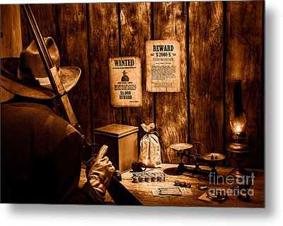 Guarding The Payroll - Sepia Metal Print by Olivier Le Queinec
