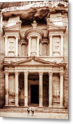 Guarding The Petra Treasury Metal Print