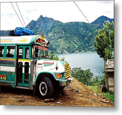 Guatemalan Chicken Bus Metal Print by Trude Janssen