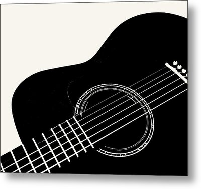 Metal Print featuring the digital art Guitar, Black And White,  by Jana Russon